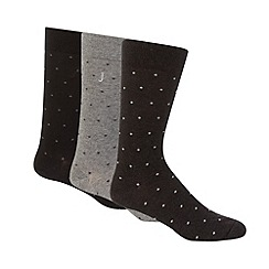 J by Jasper Conran - Designer pack of three grey spotted socks