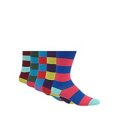 Freshen Up Your Feet - Pack of five bright rugby striped socks