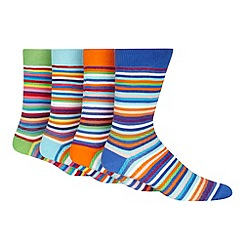 Red Herring - Pack of four blue striped socks