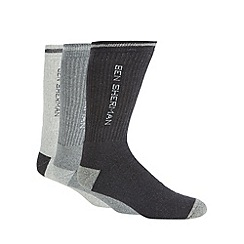 BEN SHERMAN - Pack of three grey ribbed sports socks