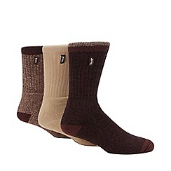Jeep - Pack of three beige cushioned socks
