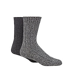 Mantaray - Pack of two grey chunky knit wool twist socks