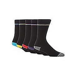 Freshen Up Your Feet - Pack of five black highlight striped socks