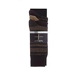 J by Jasper Conran - Designer pack of three black striped socks