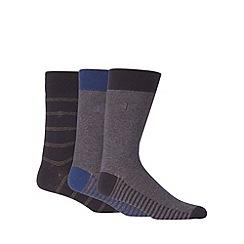 J by Jasper Conran - Designer pack of three black striped socks