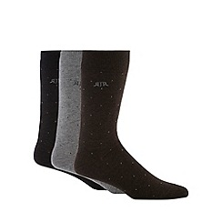 RJR.John Rocha - Designer pack of three grey pindot socks