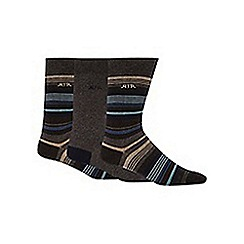 RJR.John Rocha - Pack of three designer grey block striped socks
