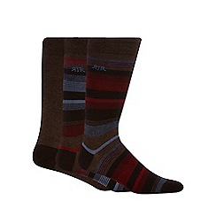 RJR.John Rocha - Designer pack of three chocolate stripe socks