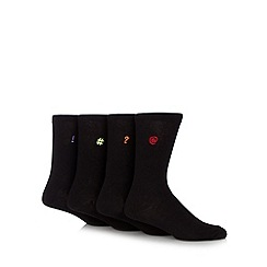 Red Herring - Pack of four black computer symbols socks