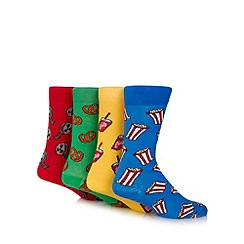 Red Herring - Pack of four red, green, yellow and blue cinema snack socks