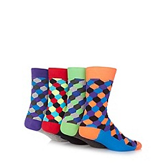 Red Herring - Pack of four green, red, purple and orange neon hexagon patterned socks