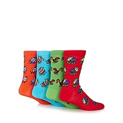 Red Herring - Pack of four red, green, orange and blue animal socks