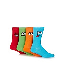 Red Herring - Pack of four red, green, orange and blue silly face socks