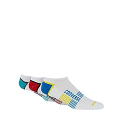 Converse - Pack of three white striped trainer socks