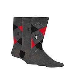 Pringle - Pack of three grey argyle socks