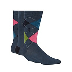 Pringle - Pack of three navy argyle socks