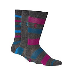 Pringle - Pack of three grey block striped socks