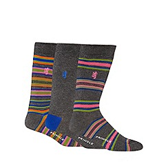 Pringle - Pack of three grey striped socks