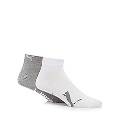 Puma - Pack of two grey and white side logo ankle socks
