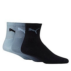 Puma - Pack of three navy, blue and light blue short crew socks