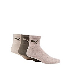 Puma - Pack of three natural, khaki and beige short crew socks