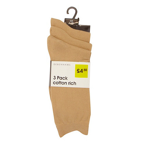 Debenhams Basics - Pack of three beige socks