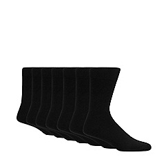 Debenhams - Pack of seven black cotton blend socks