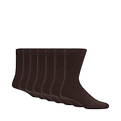 Debenhams - Pack of seven brown cotton blend socks