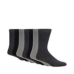 Debenhams - Pack of seven grey cotton blend socks