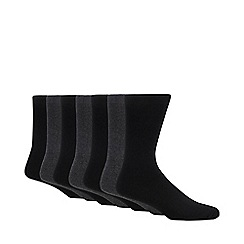Debenhams - Pack of seven dark grey cotton blend socks