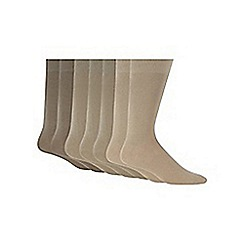 Debenhams - Pack of seven beige cotton blend socks