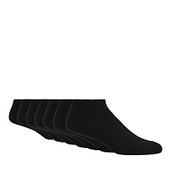 Debenhams - Pack of seven black trainer socks