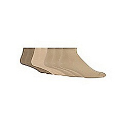 Debenhams - Pack of seven beige trainer socks