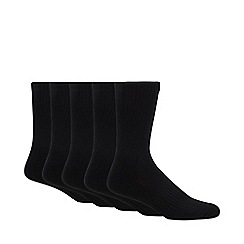 Debenhams - Pack of five black plain sports socks