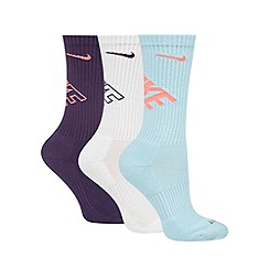Nike - Pack of three light blue, white and purple 'Dri-FIT' socks