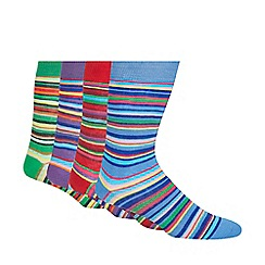 Red Herring - Pack of four blue cotton blend striped socks