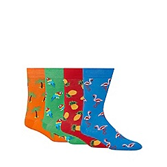 Red Herring - Pack of four red, blue, green and orange tropical print socks
