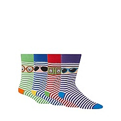 Red Herring - Pack of four blue striped sunglasses socks