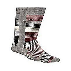 RJR.John Rocha - Designer pack of three grey cotton blend striped socks
