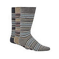 RJR.John Rocha - Designer pack of three blue cotton blend striped socks