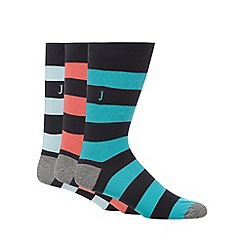 J by Jasper Conran - Designer pack of three navy rugby striped socks