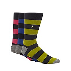 J by Jasper Conran - Designer pack of three navy striped cotton blend socks