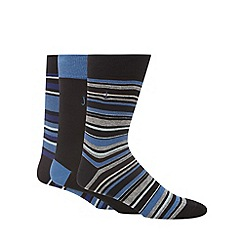 J by Jasper Conran - Designer pack of three blue reinforced cotton blend striped socks