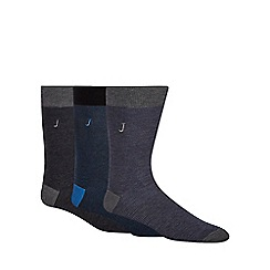 J by Jasper Conran - Designer pack of three navy and black fine striped socks