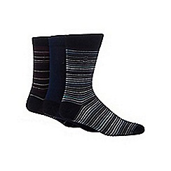 J by Jasper Conran - Designer pack of three blue mercerised cotton blend socks
