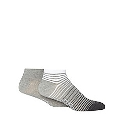 Mantaray - Pack of two grey fine striped trainer socks
