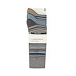 RJR.John Rocha - Pack of three grey cotton reinforced striped socks