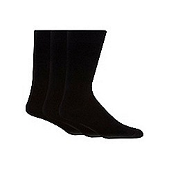 H.J.Hall - Big and tall pack of three black plain socks
