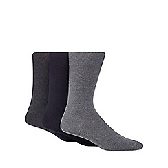 Debenhams - Pack of three black, grey and dark grey plain socks
