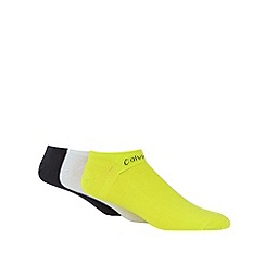 Calvin Klein - Pack of three white, lime and grey 'CoolMax' trainer socks